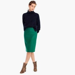 JCREW No. 2 Pencil Skirt Double-Serge Wool Green